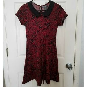 NWOT Midnight Hour black red collar dress gothic
